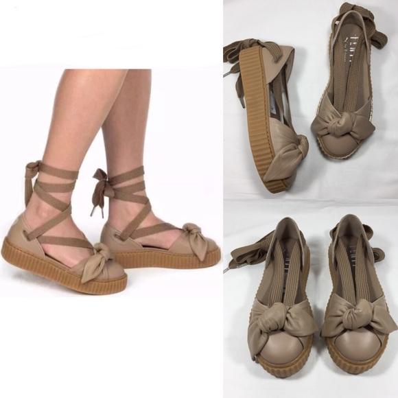 online store 47ace 6a129 PUMA FENTY RIHANNA Bow Creeper Lace Up Sandal Flat NWT
